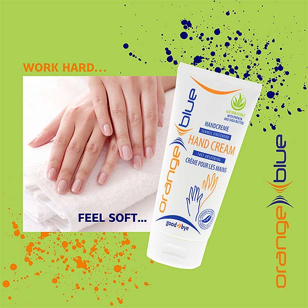 OrangeBlue fast absorbing, non-greasy hand cream with aloe vera