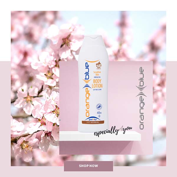orangeblue easily absorbing body lotion with almond oil for sensitive skin